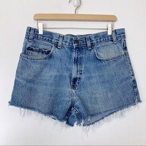 Vintage high waisted cutoff jean shorts light wash